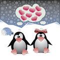 A couple of penguins in love romantic sitting on the snow holding by hands vector eps file is available Royalty Free Stock Photography