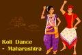 Couple performing Koli folk dance of Maharashtra, India Royalty Free Stock Photo