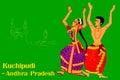 Couple performing Kuchipudi classical dance of Punjab, India
