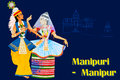 Couple performing Manipuram classical dance of Manipur, India