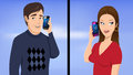 Couple phone talking cartoon illustration of a on the Stock Photos