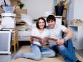 Couple with photo album Royalty Free Stock Photos