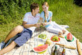 Couple at a picnic Royalty Free Stock Images