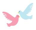 Couple pigeons icon, flat design. Isolated on white background.