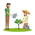 Couple planting and watering tree pot earth Royalty Free Stock Photo