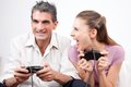 Couple playing computer games excited Royalty Free Stock Photos
