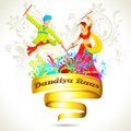 Couple playing dandiya on navratri illustration of Royalty Free Stock Photo