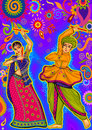 Couple playing Garba in Dandiya Night Navratri Dussehra festival