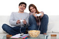 Couple playing to video games Royalty Free Stock Photography