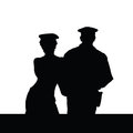 Couple in police uniform silhouette on white Stock Images