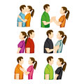 Couple poses over white background vector illustration Royalty Free Stock Photo