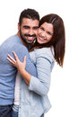 Couple posing over white background young love hugging Stock Photos