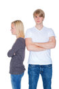 Couple with problems young brawl and freeze off Royalty Free Stock Photos