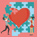 Couple and the puzzle of love Royalty Free Stock Photo
