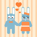 Couple of rabbit in love vector cute Royalty Free Stock Photo
