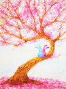 Couple rabbits lover sitting under love tree valentines day watercolor painting