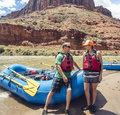 Couple on a rafting trip down the Colorado River Royalty Free Stock Photo