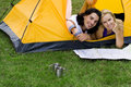 Couple Reading Map in Tent Royalty Free Stock Photos