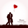 Couple and red balloon two enamored with flying illustration Royalty Free Stock Photos