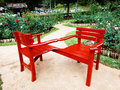 Couple of red chair in garden Royalty Free Stock Images