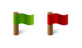 Couple red and green flags pair Stock Photo