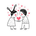 Couple red heart shape love holding hands drawing simple line vector illustration Royalty Free Stock Photography