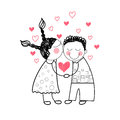 Couple red heart shape love holding hands drawing simple line vector illustration Royalty Free Stock Images