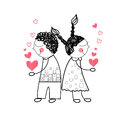Couple red heart shape love holding hands drawing simple line vector illustration Stock Photography