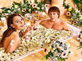 Couple relax  at spa with flower. Royalty Free Stock Image