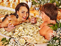 Couple relax at spa with flower luxury Stock Image