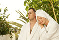 Couple relaxing after bath Stock Image