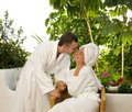 Couple relaxing after bath Royalty Free Stock Photography