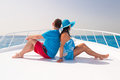 Couple relaxing on the cruise luxury yacht Royalty Free Stock Photo