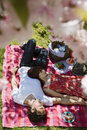 Couple relaxing on picnic blanket high angle view of young in park Royalty Free Stock Image