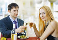 Couple at restaurant on dinner party Royalty Free Stock Images