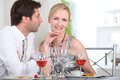 Couple in restaurant having romantic meal Royalty Free Stock Photo