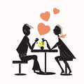 Couple in restaurant young man talking to his girlfriend at the concept of coupe love Royalty Free Stock Photo