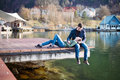 Couple resting on berth soft portrait of young lovely spending time Stock Image