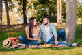 Couple resting on blanket while having picnic together Royalty Free Stock Photo