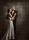Couple Retro Man and Woman in Love, Fashion Beauty Portrait Royalty Free Stock Photo