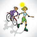 Couple riding a bike and roller skates Royalty Free Stock Photography