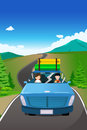 Couple riding a car going on a road trip vector illustration of Royalty Free Stock Photo