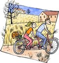 Couple riding tandem man and young woman bicycle in a field watercolor and ink illustration Stock Images