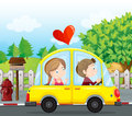 A couple riding on a yellow car illustration of Royalty Free Stock Photo
