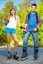 Couple on roller skates Stock Photo