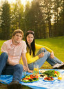 Couple at romantic picnic Stock Image