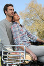Couple on romatic outdoors date Stock Image