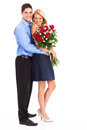 Couple with roses Stock Images