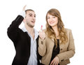 Couple rude gesture person emotions and expressions portrait Stock Images