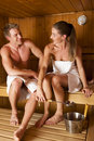 Couple in in sauna Royalty Free Stock Photo